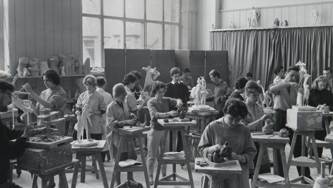 Black and white photograph of students, mostly female, in a Sculpture Studio at Edinburgh College of Art in the 1960s